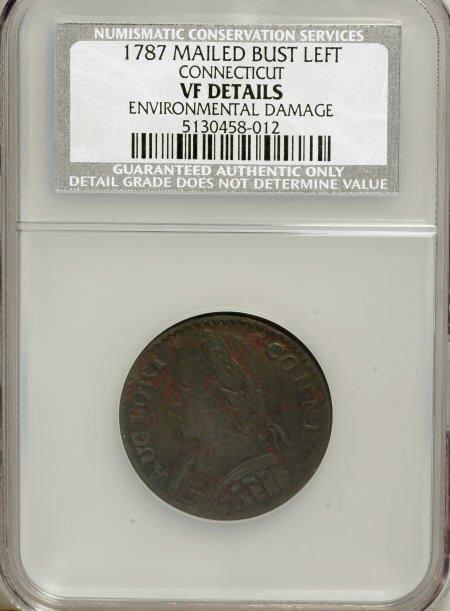 7015: 1787 COPPER Connecticut Copper, Mailed Bust Left-