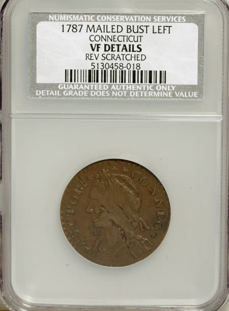 7016: 1787 COPPER Connecticut Copper, Mailed Bust Left-