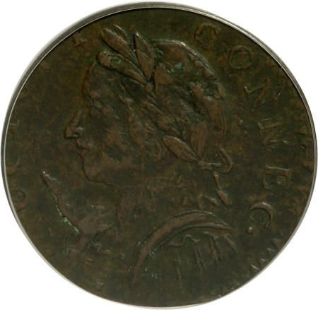 7017: 1787 COPPER Connecticut Copper, Horned Bust XF40