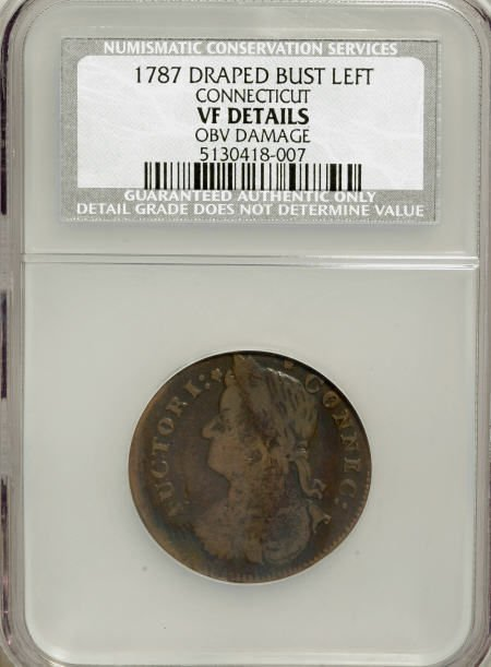 7018: 1787 COPPER Connecticut Copper, Draped Bust