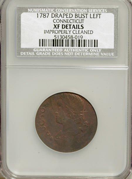 7019: 1787 COPPER Connecticut Copper, Draped Bust Left-