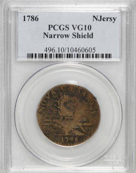 7022: 1786 COPPER New Jersey Copper, Narrow Shield VG10