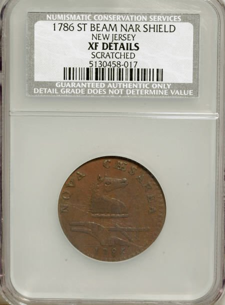 7023: 1786 NJERSY New Jersey Copper, Narrow Shield,