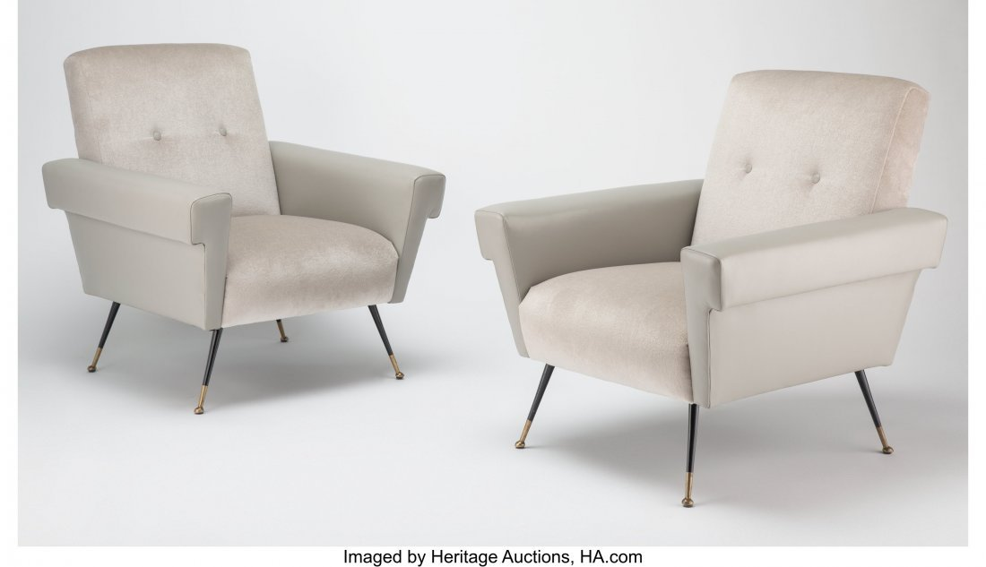 27121: A Pair of Italian Leather and Chenille Upholster