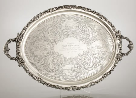 71006: Wood & Hughes Silver 2-Handled Presentation Tray