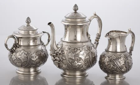 71009: Tiffany Silver 3 Pc Tea Set, Chased Ivy Pattern
