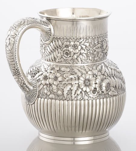 71011: Tiffany Silver Pitcher, Repoussé Decoration