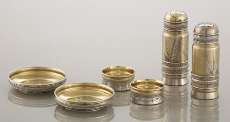 71013: Gorham Silver & Silver Gilt 6 Pc. Set in Box