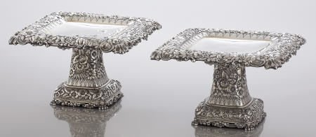 71014: A Pair of Tiffany & Co. Silver Repousse Tazzas