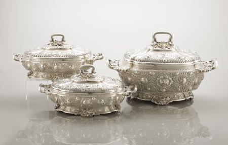 71019: Tiffany & Co. 1 Large 2 Small Covered Tureens,