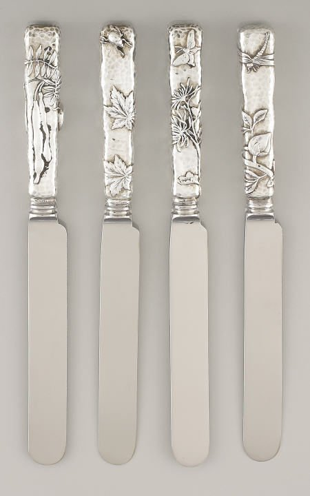 71039: Tiffany 4 Silver Dinner Knives, Lap-Over-Edge