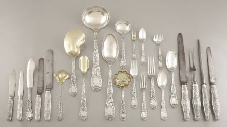 71047: Tiffany Silver Service for 24, Chrysanthemum