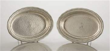 2 Tiffany Silver Serving Dishes, Hand Hammered