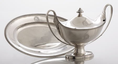 71090: Fogelberg  Silver Sauce Tureen with  Underplate