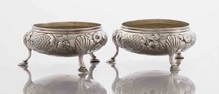 71101: Pair Smily Silver & Silver Gilt chased Salts