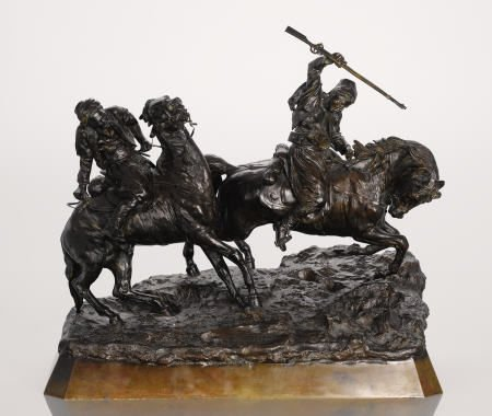 65006: A RUSSIAN BRONZE GROUP OF TWO HORSEMEN Cast from