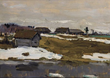65013: V. S. Village by The Water in Winter, DATE Oil