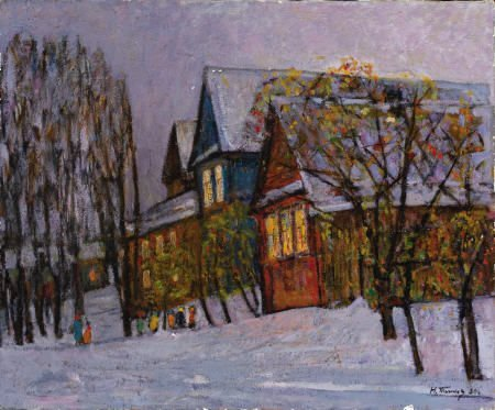 65015: ARTIST A Cold Winter's Night in the Village Oil