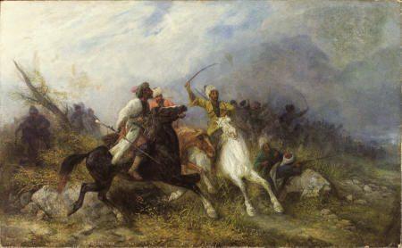 65302: JOSEF VON BRANDT Kaukasische Schlacht Oil on