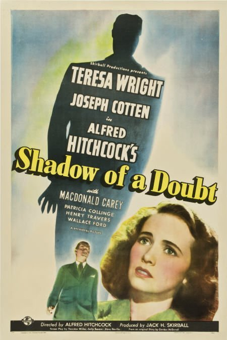 85007: Shadow of a Doubt (Universal, 1943). One Sheet