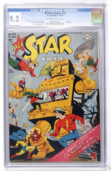 91013: All Star Comics #43 (DC, 1948) CGC NM- 9.2