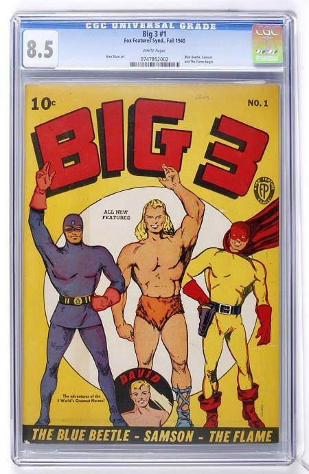 91022: Big 3 #1 (Fox, 1940) CGC VF+ 8.5 White pages.