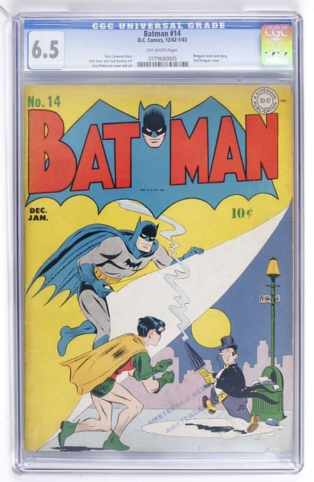 93007: Batman #14 (DC, 1943) CGC FN+ 6.5 Off-white