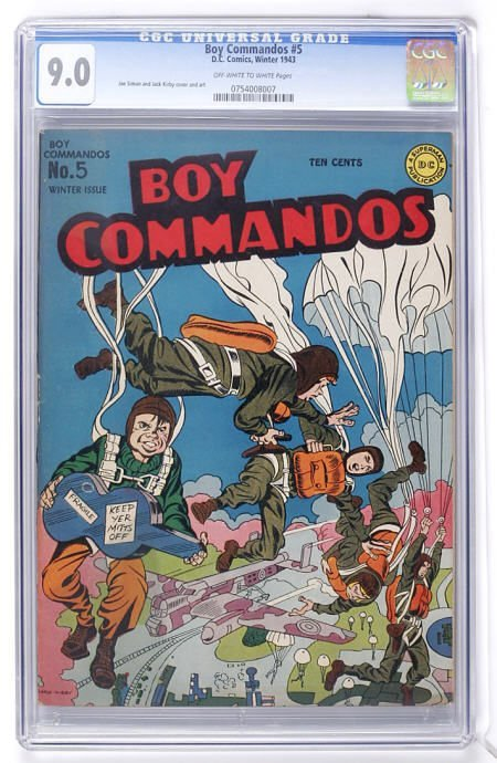 93012: Boy Commandos #5 (DC, 1943) CGC VF/NM 9.0 Off-wh