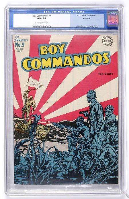 93013: Boy Commandos #9 Hawkeye pedigree (1944) CGC 9.2