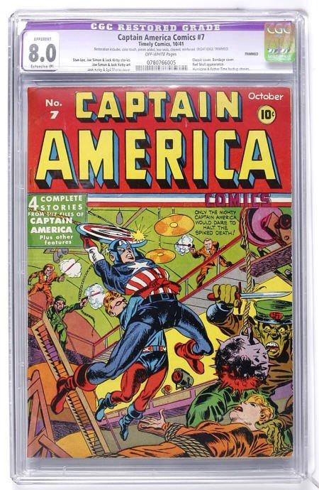 93017: Captain America Comic #7 (1941) CGC Apparent 8.0