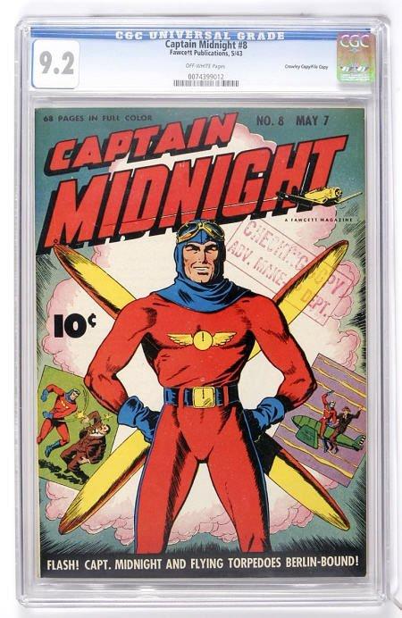 93023: Captain Midnight #8 (Fawcett, 1943) CGC NM- 9.2.