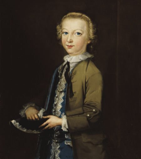 63010: British School Portrait of Boy with Bird Oil on