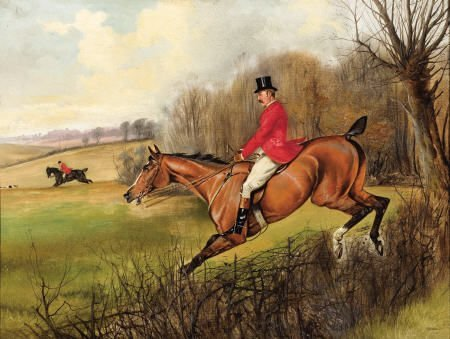 63015: JOHN ALFRED WHEELER Fox Hunt Oil on canvas 20 x