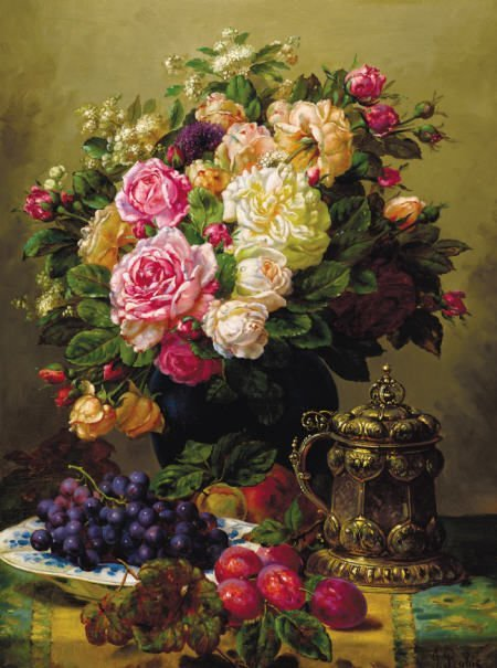 63017: JEAN BAPTISTE ROBIE Still Life with Roses,