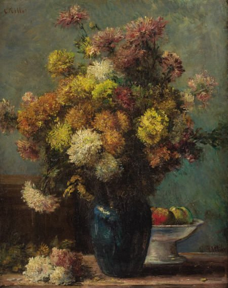 63020: CHARLES VICTOR TILLOT Still Life Oil on canvas