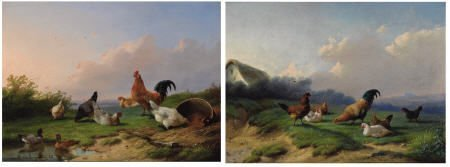 63022: CORNELIS VAN LEEMPUTTEN Pair of Chickens