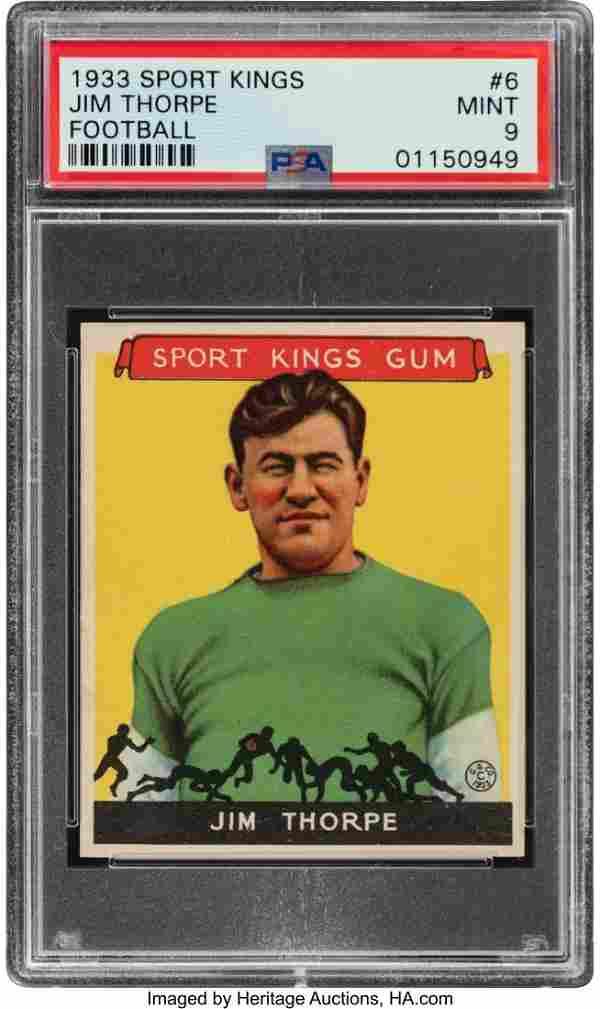 55473: 1933 Sport Kings Jim Thorpe #6 PSA Mint 9. Thoug