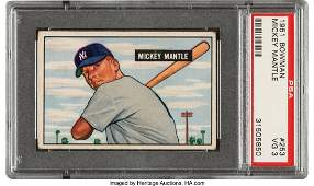 55785: 1951 Bowman Mickey Mantle #253 PSA VG 3. With t