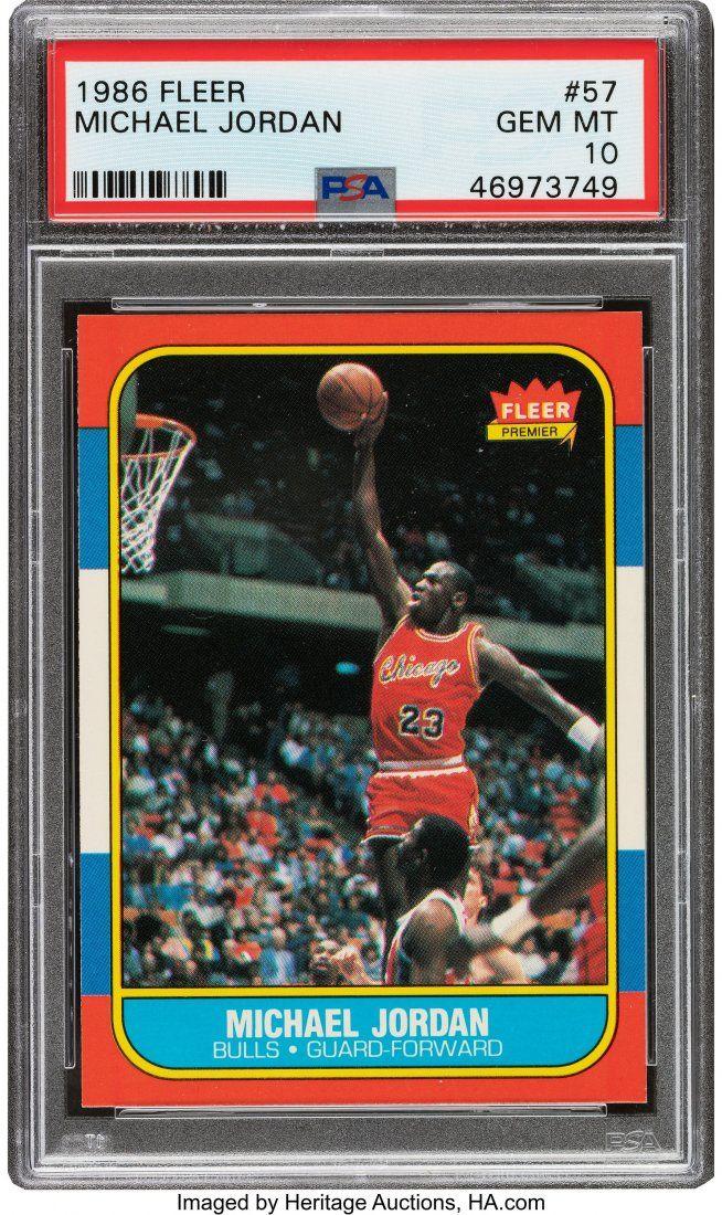 56540: 1986 Fleer Michael Jordan #57 PSA Gem Mint 10. T