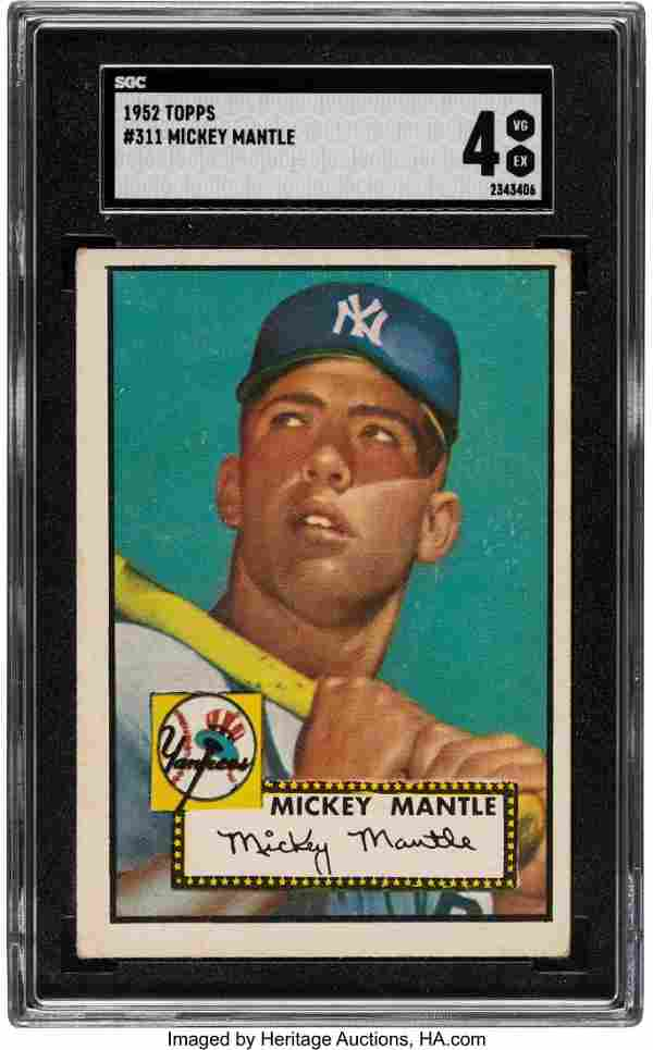 "1952 Topps Mickey Mantle #311 SGC VG-EX 4. ""1952"