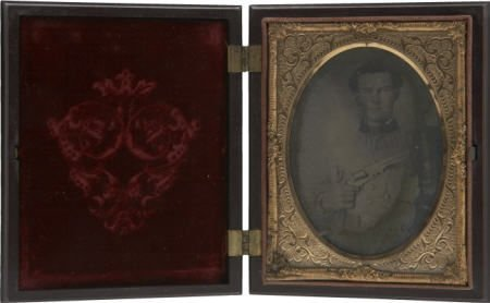 57022: 1/4 Plate Ambrotype Portrait Young Confederate