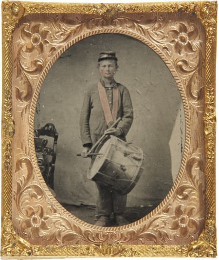 57285: 1/6 Plate Tintype of a Young Federal Drummer.