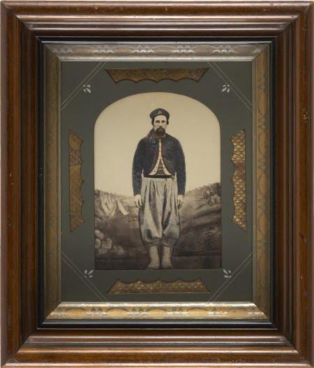 57287: Hand Tinted Albumen Portrait PA Zouave