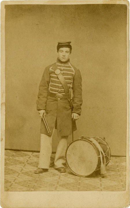 57291: Great CDV Portrait of Drummer Edwin Burr