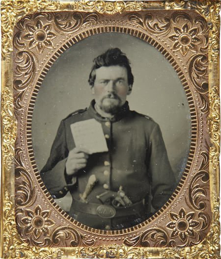 57300: Tintype Civil War Enlisted Man with Hardtack