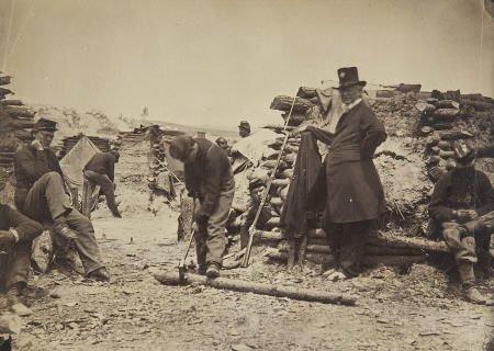 57302: Civil War Albumen View of Federal Soldiers