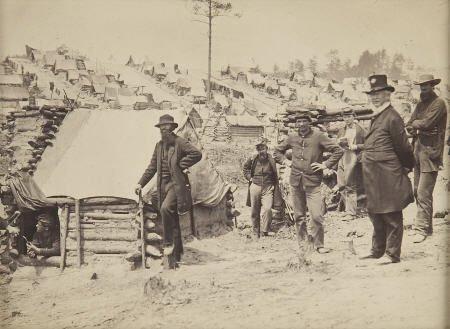 57303: Civil War Albumen View of Large Encampment