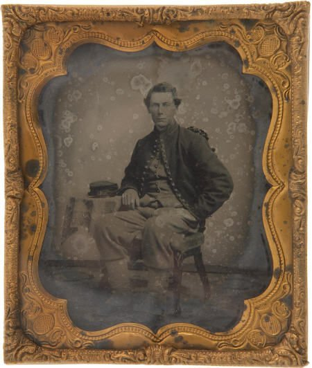 57307: Rare Early War Soft Emulsion Ambrotype Portrait