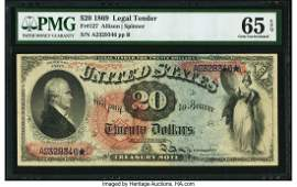 20020: Fr. 127 $20 1869 Legal Tender PMG Gem Uncirculat