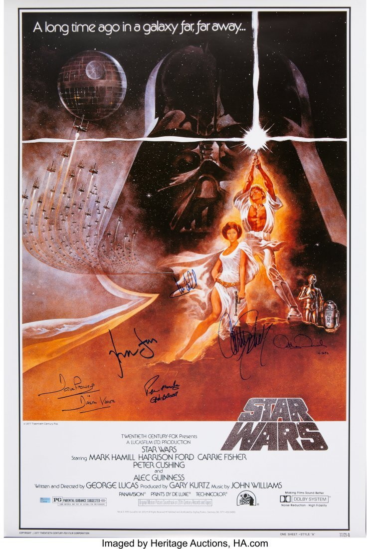 89166: Star Wars Cast Signed Poster. A cast-signed movi